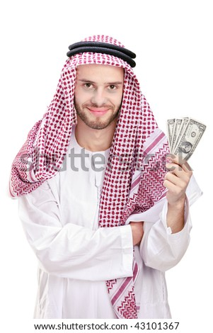 Young Arab businessman holding US dollars isolated on white background