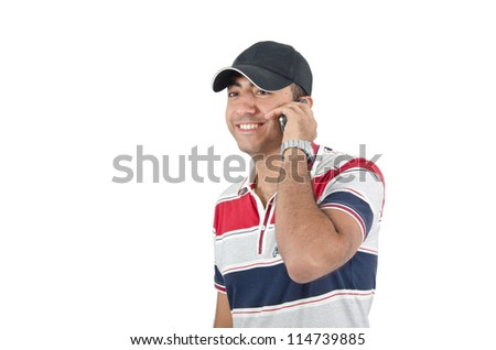 Young Arab man talking on phone
