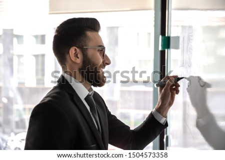 Young arabian ethnicity entrepreneur startupper writing on flip chart new start up idea plan for investors, confident attractive arab business trainer makes presentation for staff concept of training