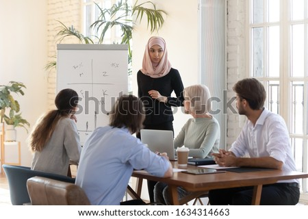 Young Arabic woman in hijab talking making flip chart presentation for diverse colleagues in modern office, arab muslim female presenter or speaker present project on whiteboard for employees