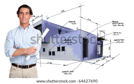 Young architect and a house draft with handwritten notes - stock photo