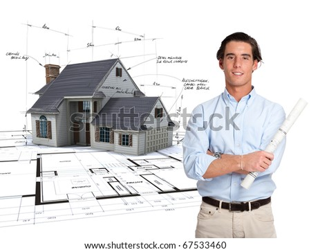 Young architect and a house draft with handwritten notes on top of blueprints