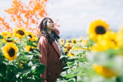 Young asia girl in sunflower garden in Da Lat city, Vietnam
