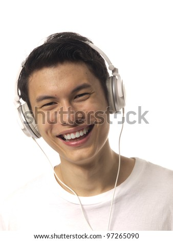 Young Asiam Man with Headphones Over white background #97265090