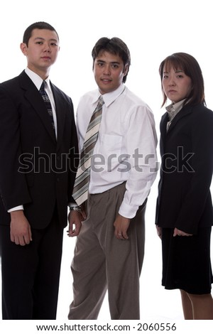 Young asian and american co-workers look into the camera