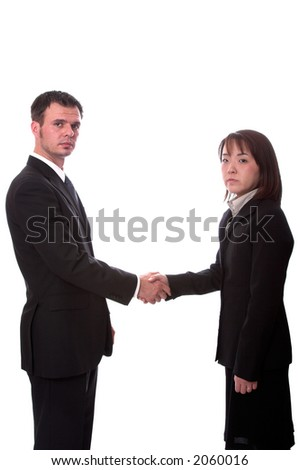 Young asian and american co-workers shaking hands