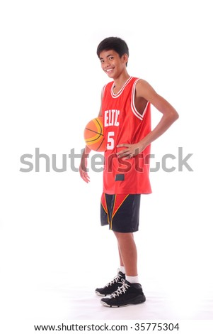 young asian basketball player