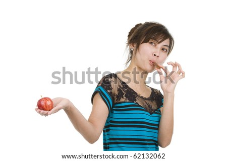 young asian beauty with chocolate and apple, isolated on white background