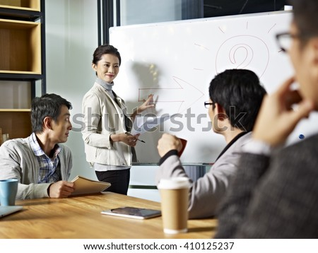 young asian business executive facilitating a discussion or brainstorm session in meeting room.