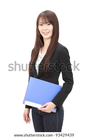 Young asian business woman holding file document