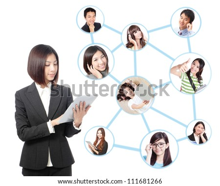 Young asian business woman in social network. woman looks to the tablet computer isolated on white background. Social group
