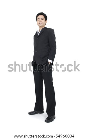 young asian businessman standing with isolated white background