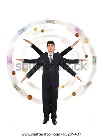 Young asian businessman with six hands making money windmill collage