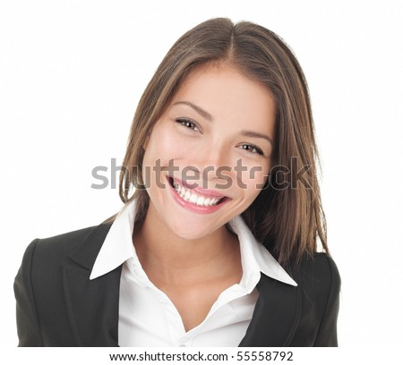 Young asian businesswoman portrait isolated on white background - stock photo