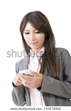 Young asian businesswoman with mobile phone, typing, on the white background