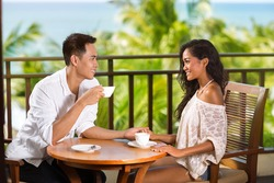 Young Asian couple having romantic morning