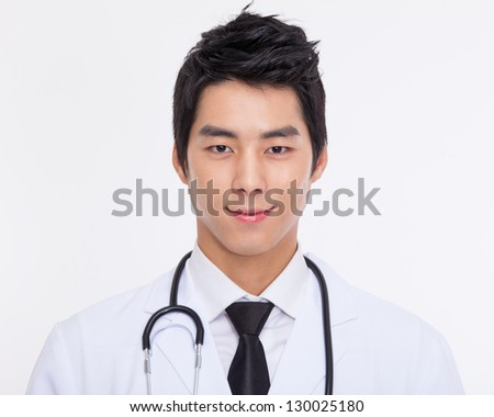 Young Asian doctor close up shot isolate on white background.