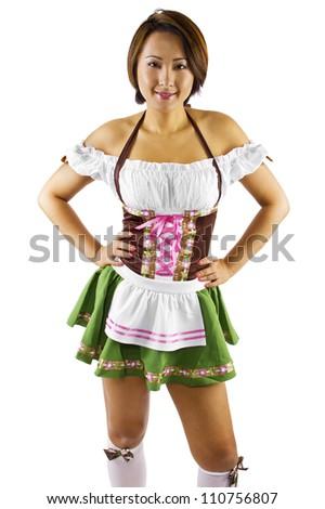 young Asian female Oktoberfest waitress