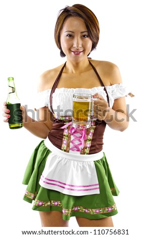 young Asian female Oktoberfest waitress