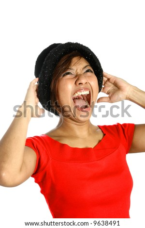 Young Asian female screaming at the top of her voice, showing her emotion of anger and frustration.