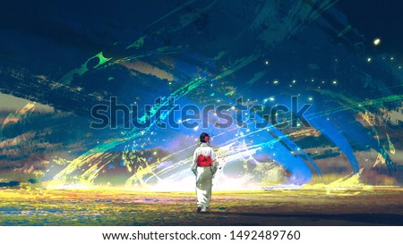 young asian girl in Japanese traditional clothes approached the fantastic blue storm, digital art style, illustration painting