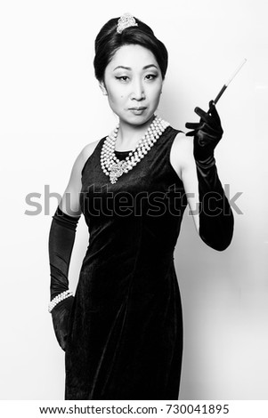 Young Asian lady in the image from classic film