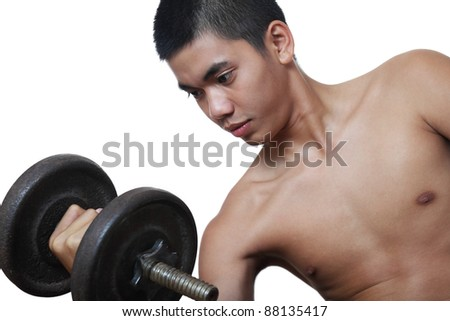 Young asian man exercising with barbell