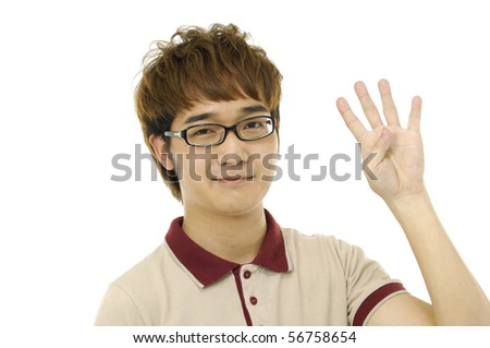 young asian man hold 4 fingers up