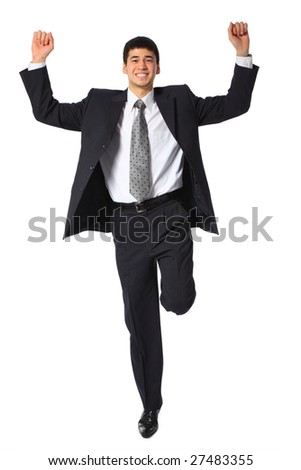 young asian smiling businessman with raised hands