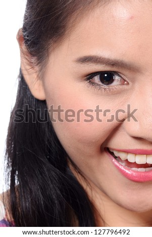 Young Asian woman close up shot.