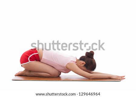 Young Asian woman  exercise yoga isolated on white background.