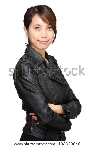 young asian woman over white background