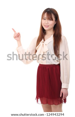Young asian woman rise hand and pointing isolated on white background
