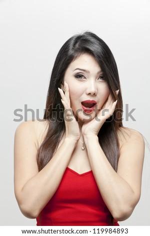 young asian woman shout