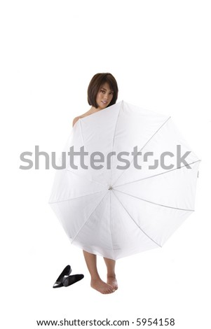Young Asian woman standing behind white umbrella with bare feet on a white background