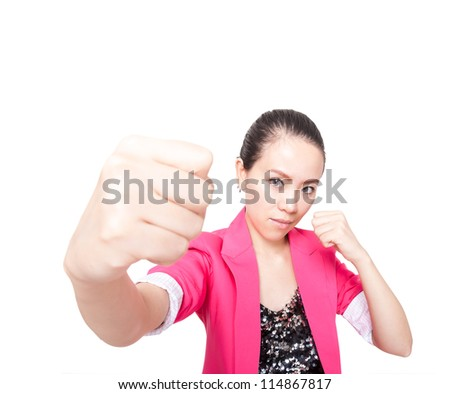 Young Asian woman with his fists