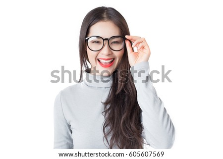 Young Asian woman with smiley face wearing glasses isolated on white background.