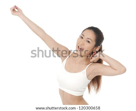 Young Asian women cheering with arms up in excitement.