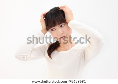 Young Asian women facing the head of the white background