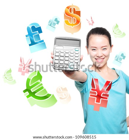 Young Asian women to take a calculator, financial symbols