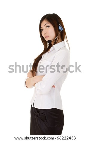 Young assistant business lady with confident expression over white.
