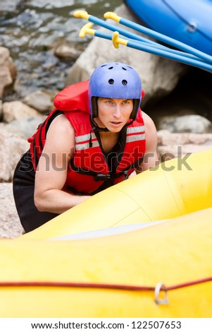 young athelte training for whitewate rafting