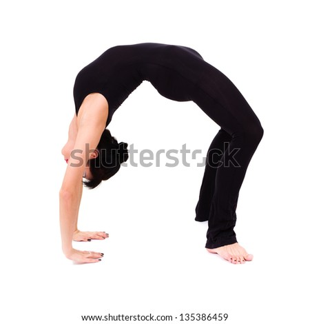 young athlete woman doing stretching exercise isolated on white background. fitness gym concept