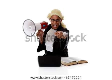 Young attractive african-american, angry judge man at his desk accusing.  Studio shot. White background.