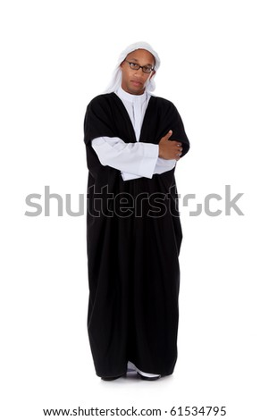 Young attractive African American man in sheikh posture dressed in arab garb, crossed arms. Studio shot . White background