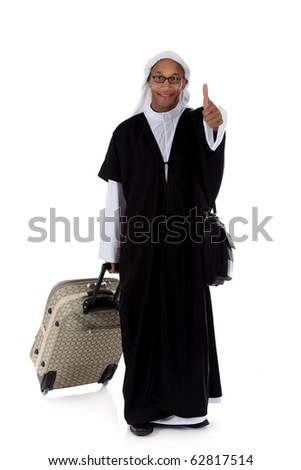Young attractive African American man in sheikh posture dressed in arab garb with thumb up and pulling his bag. Studio shot . White background [May be offesive gesture in Middle Eastern Countries and Internationally]