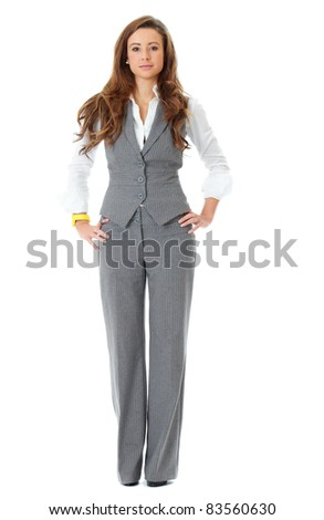 Young attractive and confident business woman, full pose shoot, isolated on white