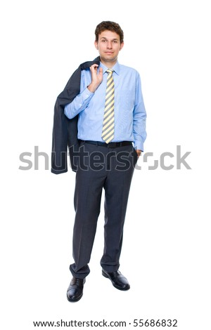 young attractive and confident businessman, full body shoot, studio shoot isolated on white background
