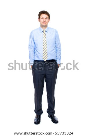 young attractive and confident businessman with his hands in pockets, full body shoot, studio shoot isolated on white background