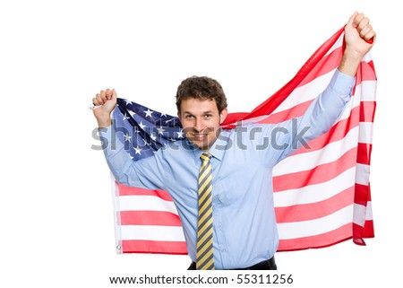 young attractive and happy businessman holds american flag, studio shoot isolated on white background